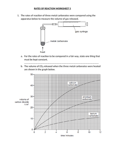 RATES OF REACTION WORKSHEET 5 WITH ANSWERS