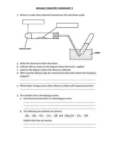 ORGANIC CHEMISTRY WORKSHEET 5 WITH ANSWERS