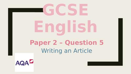 GCSE English - Writing an article