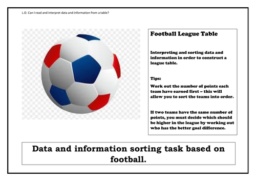 Year 5/6 Football League Table - Interpreting and Sorting Data/Information - Expected and GDP