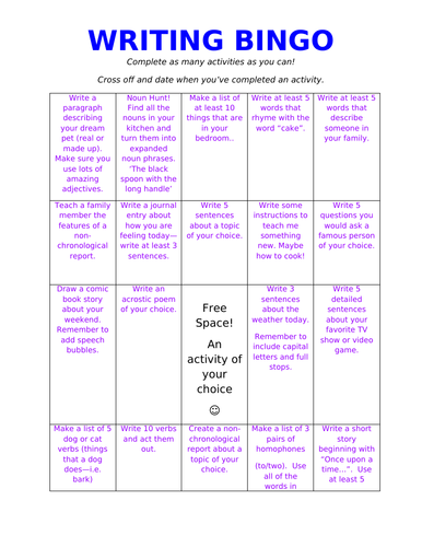 KS2 Writing Bingo Activity