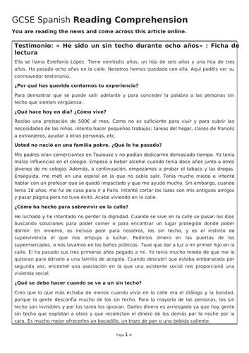 Spanish reading - The homeless