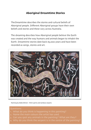 Aboriginal Art Dreamtime Stories Worksheet