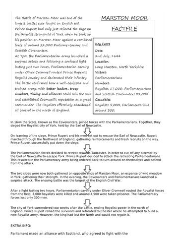 English Civil War Lesson Six: Marston Moor and Naseby