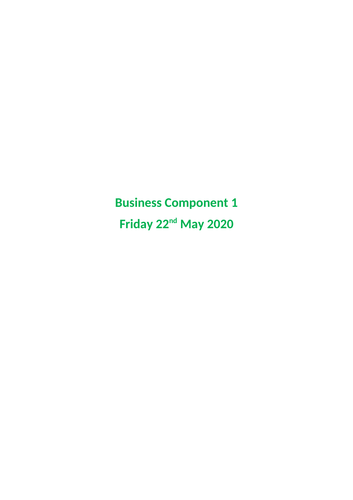 A Level Business - component 1 complete revision notes