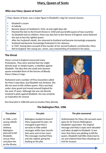 GCSE History Elizabethan England Home learning/ Revision activities