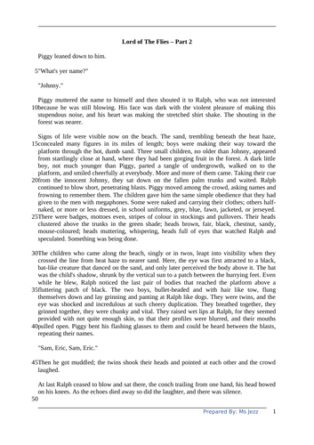Year 9 IGCSE English Comprehension 5 (Lord of The Flies Part 2)