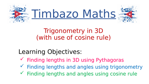 Trigonometry in 3D including sine and cosine rules