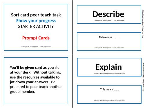 'Sort cards' peer teach task - Command Verbs
