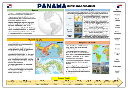 Panama Knowledge Organiser - Geography Place Knowledge!
