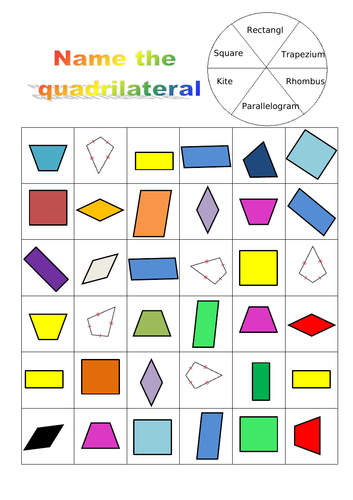 Name and recognise the quadrilateral game