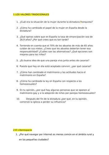 Speaking questions - Spanish AS Yr12 -AQA