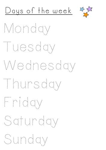 Days of the week - Handwriting