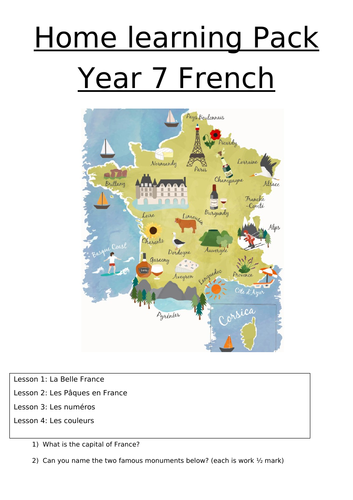 Revision booklet year 7 French