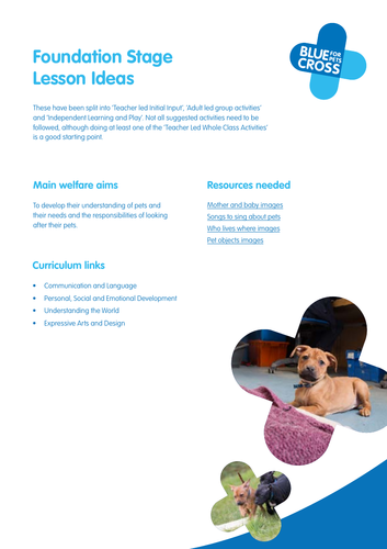 Pets - Blue Cross resources for Foundation stage