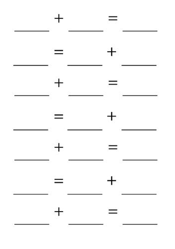 Blank addition number sentences