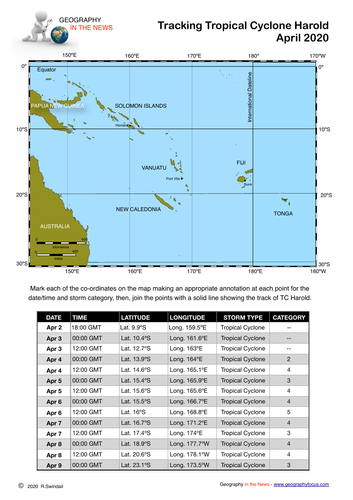 Latitude & Longitude Exercise: Tropical Cyclone Harold