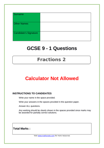 Fractions for GCSE