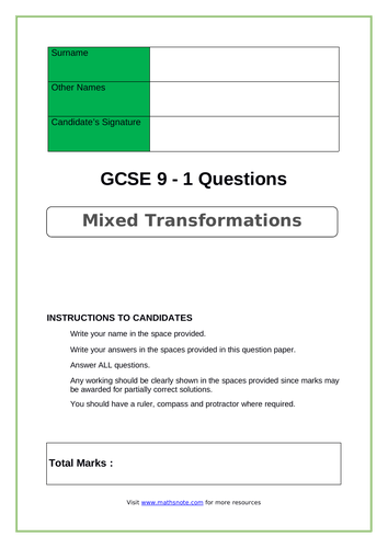Mixed Transformations for GCSE