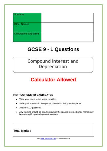 Compound Interest and Depreciation for GCSE