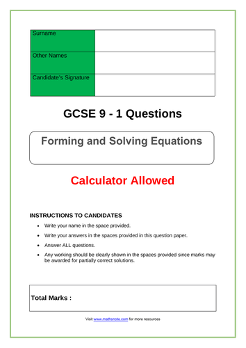 Forming and Solving Equations for GCSE