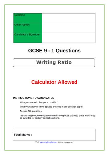 Writing Ratio for GCSE