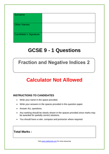 Fraction and Negative Indices for GCSE