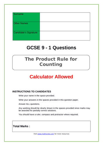 The Product Rule for Counting for GCSE