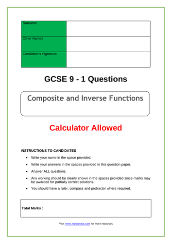 Composite and Inverse Functions for GCSE