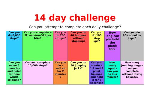14 day PE challenge homework whilst in lockdown