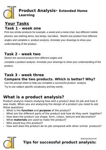 Design and Technology homelearning extended homework COVID-19