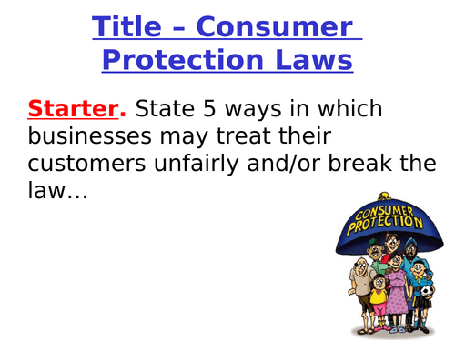 Consumer Law and Rights GCSE Business