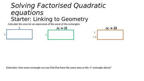 Solving factorised quadratics