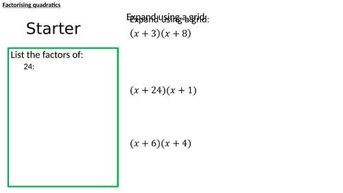Factorising and solving quadratics using a grid (positive coefficients)