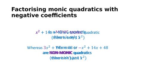 Factorising and solving quadratics using a grid (negative b and/or c)