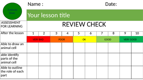 AFL - Review check template for all subjects