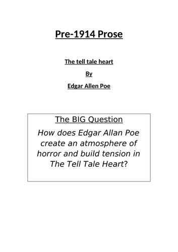 Edgar Allen Poe - The Tell Tale Heart Work Pack Booklet - KS3