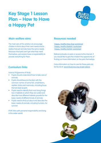 Blue Cross Pet resources for Key Stage 1