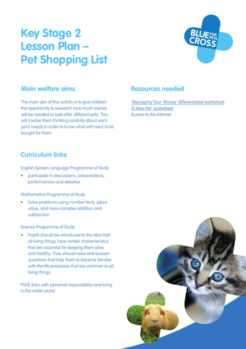Blue Cross Pet resources for Key Stage 2