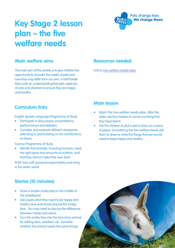 Blue Cross Pet resources - Key Stage 2