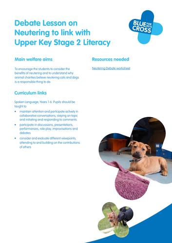 Blue Cross Pet resources - Upper Key stage 2 Literacy Debate