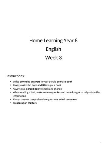 English Home Learning Year 8/ Revision/ Independent Work/ Coronavirus: Sherlock Holmes