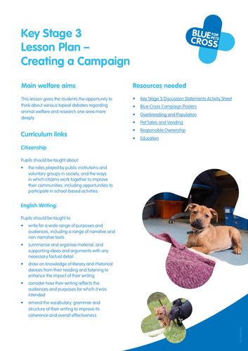 Blue Cross Pet Resources - Key Stage 3 Lesson plan