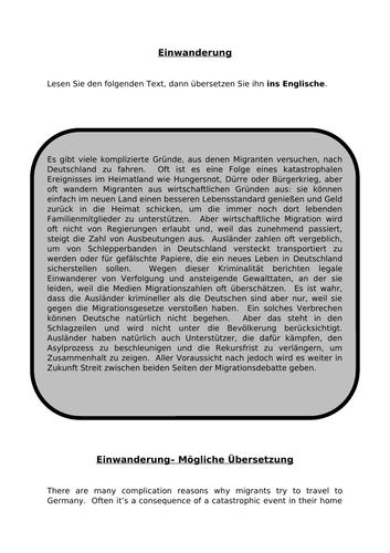 Einwanderung -translation into English for AQA A Level German.