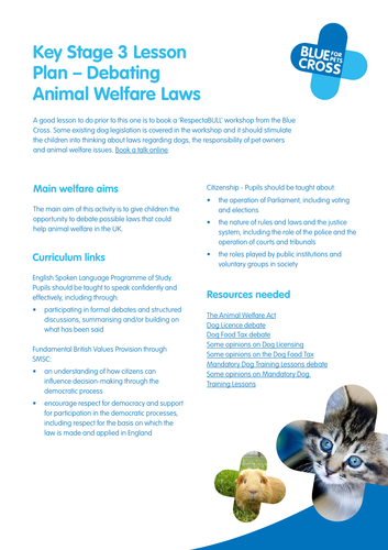 Blue Cross Pet resources  - Key Stage 3 Animal Welfare Laws