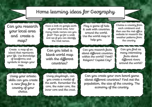 Home Learning ideas - Geography | Teaching Resources