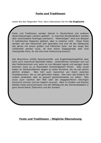 Feste und Traditionen - translation into English for AQA A Level German