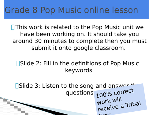 Pop Music online lesson (home learning)