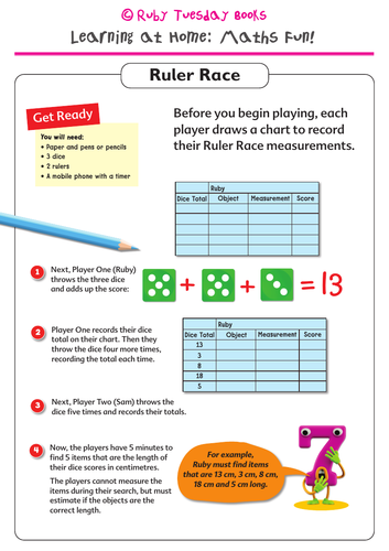 Ruler Race! Addition and Measuring activity