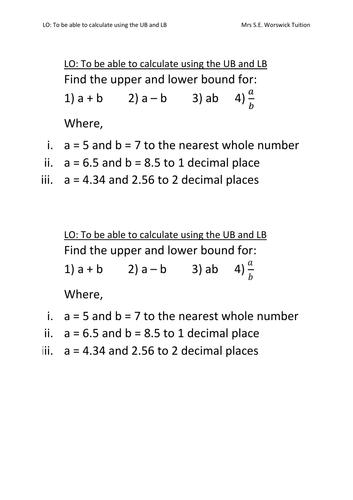 Error Intervals - Calculating